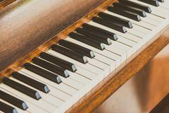 Old vintage piano keys - stock photo