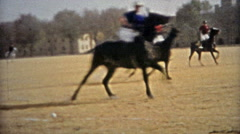 1953: Horse Polo game practice outside university fields. Stock Footage