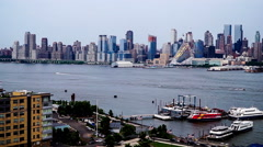New York City, USA-Jul 6,2015: Panning view of Manhattan skyline, New York City Stock Footage