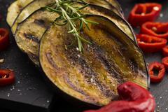 Grilled eggplant slices - stock photo