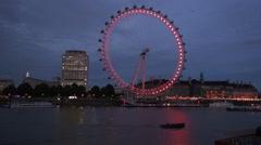 Time Lapse London Eye Ferris Wheel Cityscape Twilight Thames River Water Lights Stock Footage