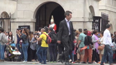 British Royal Horse Guards Tourists Attraction Soldier Cavalry Honor Sword  Stock Footage