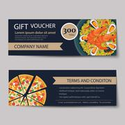 Set of food voucher discount template design Stock Illustration