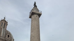 Rome Trajan's Column Antigue Monument Roman History Sculpture Ancient Vestals - stock footage