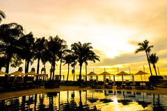 Silhouette palm tree on hotel pool resort with umbrella and chair Stock Photos