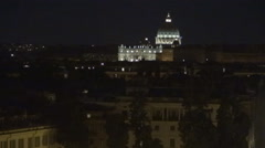 Rome Cityscape Night view Aerial Evening Landscape Vatican Palace Peoples Faith Stock Footage
