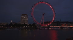 London Eye Ferris Wheel Nightfall View Reflected  Lights Thames River Water Stock Footage