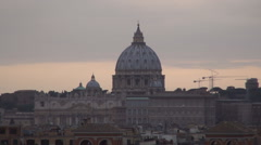 Rome Cityscape Aerial Evening Sunset Landscape Vatican Palace Christian Faith Stock Footage