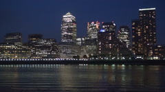 London Financial Place Canary Wharf  Economy Center Thames River Nightscape Stock Footage