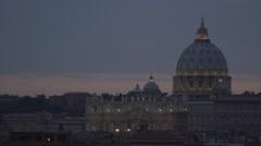 Rome Cityscape Aerial Evening Twilight Landscape Vatican Palace Christian Faith - stock footage