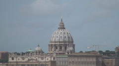 Rome Sightseeing Aerial Landscape Vatican Cathedral Christianity Center Hot Day - stock footage