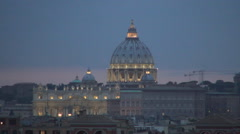 Aerial Landscape Vatican Palace Christian Faith Rome Cityscape Evening Twilight Stock Footage