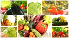 Delicious vegetables collage Stock Footage