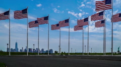 The cityscape of Manhattan view from Liberty Park in New Jersey Stock Footage