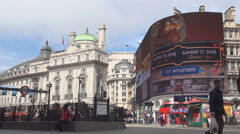 London Piccadilly Circus Square Publicity Street Panel Subway Traffic Jam Stock Footage