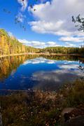 Autumnal lake landscape - stock photo