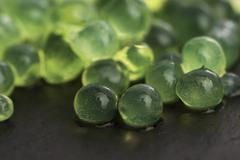 mint caviar, molecular gastronomy - stock photo