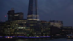 London Nightfall View Crepuscule Building Business Area Lights Financial Center Stock Footage