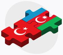 Stock Illustration of Turkey and Azerbaijan Flags