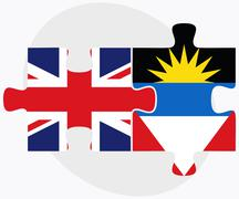 United Kingdom and Antigua and Barbuda Flags Stock Illustration