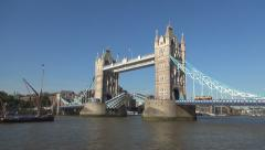 London Tower Bridge Lift Up Suspend Street Transport Thames River Boat Passing Stock Footage