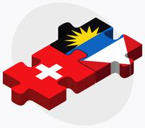 Switzerland and Antigua and Barbuda Flags - stock illustration