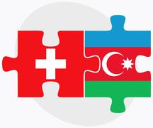Switzerland and Azerbaijan Flags - stock illustration