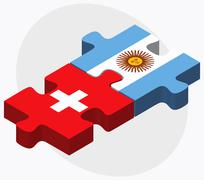 Switzerland and Argentina Flags Stock Illustration