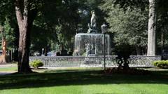 Wide St James fountain. Stock Footage