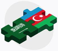Stock Illustration of Saudi Arabia and Azerbaijan Flags
