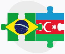 Stock Illustration of Brazil and Azerbaijan Flags