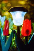 Small Solar Garden Light, Lantern In Flower Bed. Garden Design - stock photo
