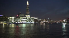 Thames River Traffic Boats Central London Night Landscape Financial City Lights Stock Footage