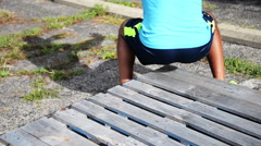 Young male does squats. Stock Footage