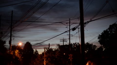 Sunset over telephone wires. Stock Footage