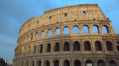 Colosseum Ruins Sunset Light  Amphitheater Walls Roman Empire Antique Arena Stock Footage
