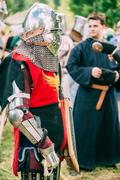Warrior participant of VI festival of medieval culture - stock photo