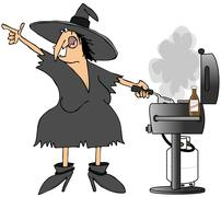 Stock Illustration of Witch grilling burgers