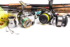 Fishing tackles - rod, reel, line and lures Stock Photos