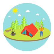Stock Illustration of Outdoor landscape background with camp tent