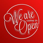 Come in. We're open sign - stock illustration
