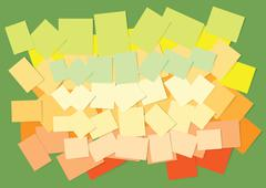 Colored sticky papers - stock illustration
