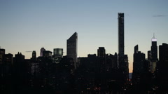 Midtown Manhattan skyline at twilight, NYC Stock Footage