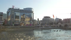 Skopje city at sunseth Stock Footage