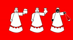 Biblical Magi - three kings - simple characters on red background Stock Footage