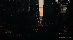 Night traffic and skyscrapers at Midtown Manhattan in NYC Stock Footage