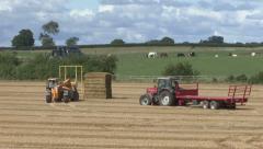 Machine picks up straw bales. Stock Footage
