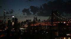 Queensboro Bridge at night, New York City Stock Footage