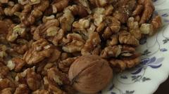 Walnut kernels in basket Stock Footage