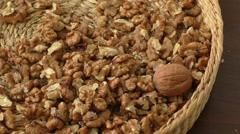 Walnut kernels in basket - stock footage